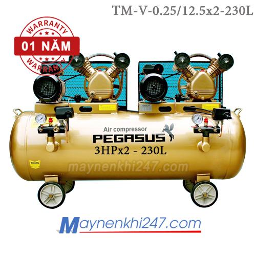 Máy nén khí Pegasus 3HPx2, 230l, 12.5bar, 220V TM-V-0.25/12.5x2-230L